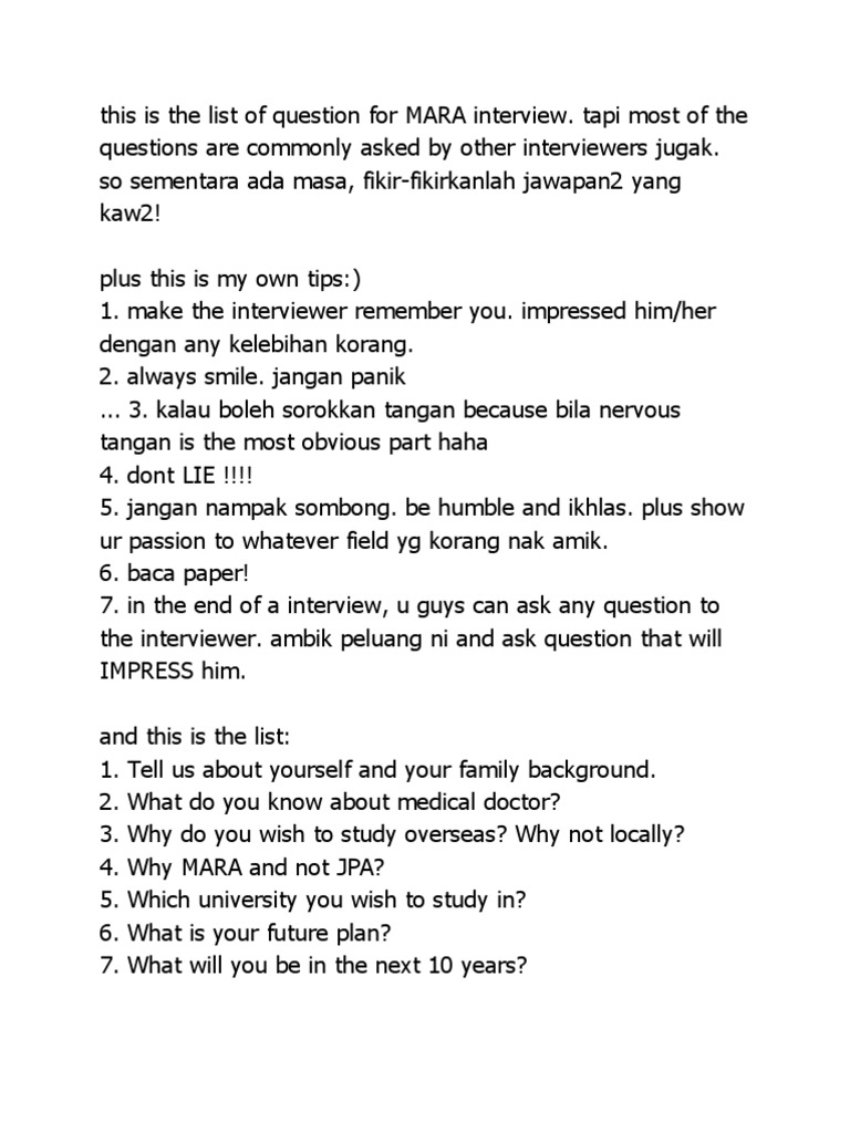 this is the list of question for mara interview wellness