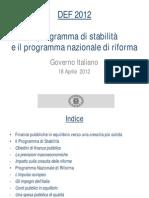 DEF Documento Economico Finanziario Governo Monti Aprile 2012
