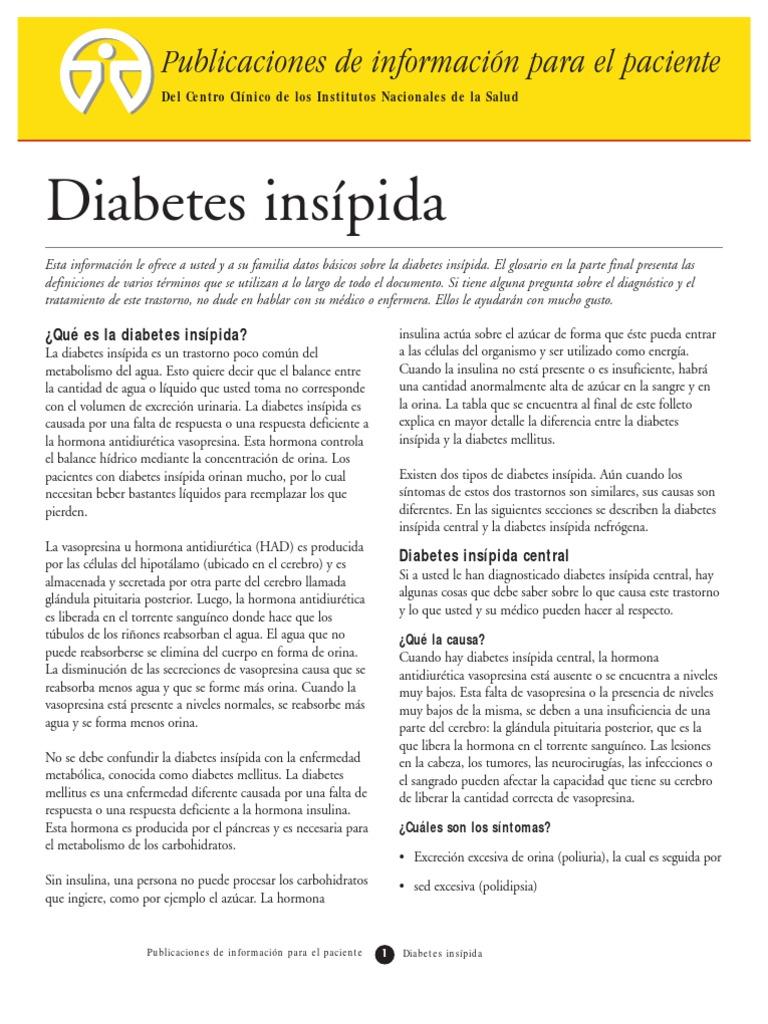planes de cuidados de enfermería para diabetes insípida