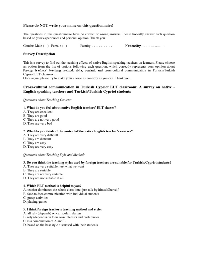 teaching survey for students