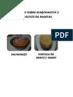 Elaboración  y analisis de recetas