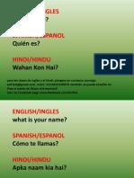 Basic Questions Hindi, Spanish, English-2
