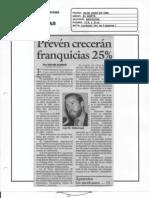 """""""Prevén crecerán franquicias 25%"""" 20 de Junio de 1996-El Norte"""