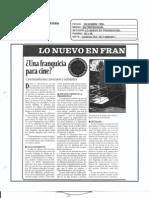 """""""¿Una Franquicia para cine?"""" Diciembre de 1996-Revista Entrepreneur"""