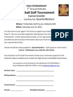 7th Annual Hallsville Football Golf Tournament Hole Sponsor