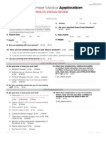 Peace Corps Volunteer Medical Application E-Copy of Health Status Review -  English
