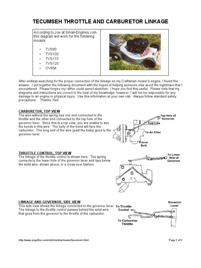 Tecumseh carb linkage
