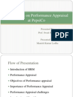 Presentation on Performance Appraisal at PepsiCo