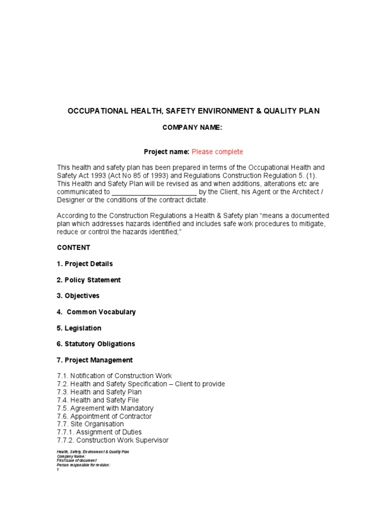 health and safety plan template occupational safety and health safety. Black Bedroom Furniture Sets. Home Design Ideas