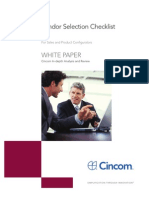 Vendor Selection Checklist - For Sales and Product Configurators