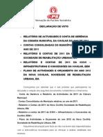 Declaração de Voto Contas Consolidadas 2011 da CMC