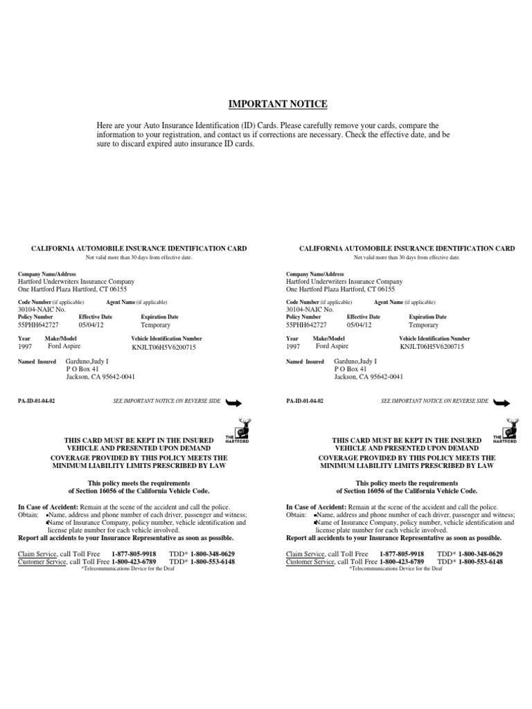 The Hartford Insurance Address >> Id Card Vehicle Insurance Identity Document
