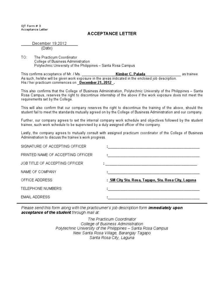 Acceptance Form Sample  CityEsporaCo