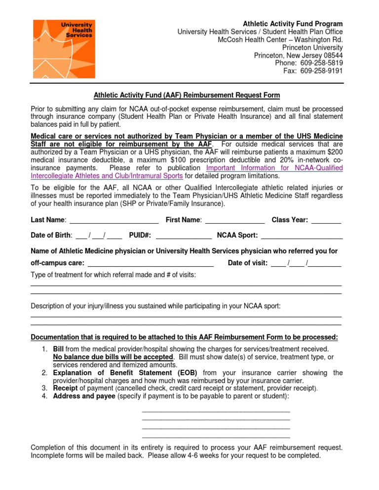 Aaf Reimbursement Request Form  Reimbursement  Insurance