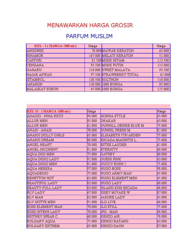 Daftar Harga Bibit Parfum