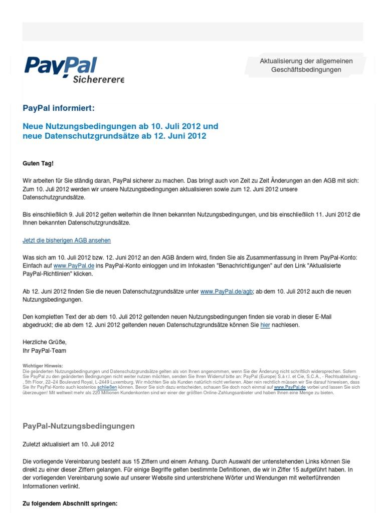 Paypal Aktualisierung