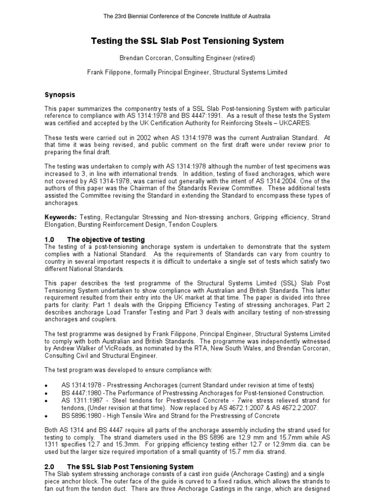 Testing the SSL Slab Post Tension Ing System pdf