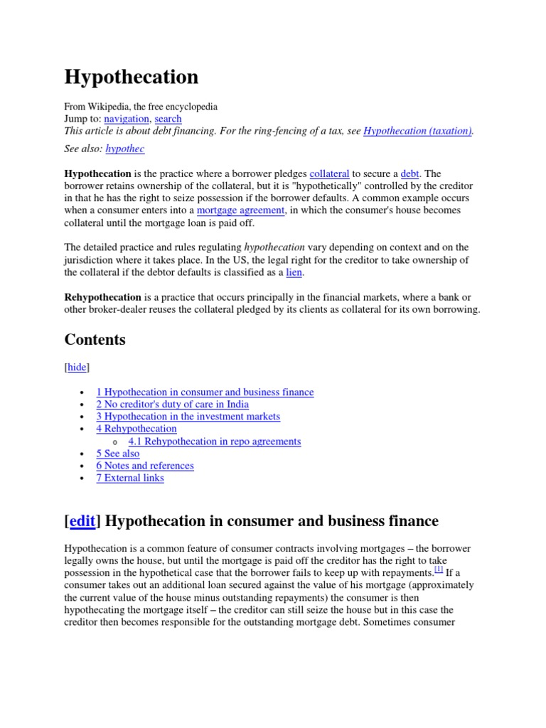 Hypo The Cation Repurchase Agreement Financial Services