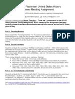 APUSH Summer Reading Assignment (2010-2011)