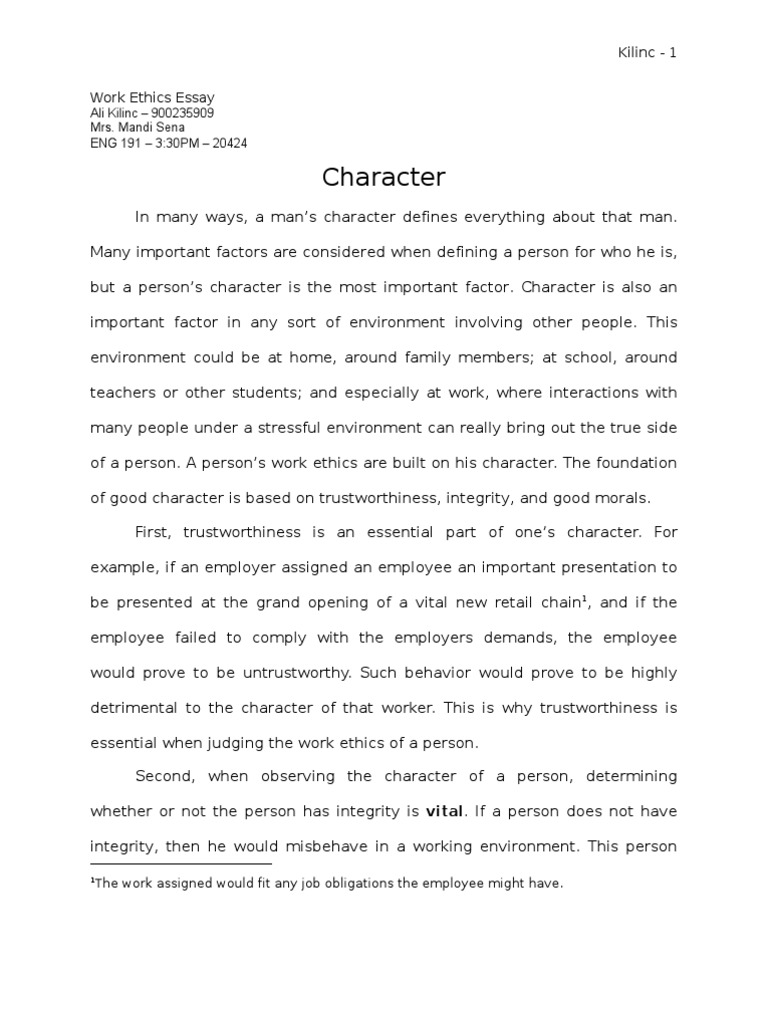 Speech Essays Work Ethics Character Morality Integrity Essays On Satire also High School Essay Samples Essay On Work Ethic Work Ethics Character Morality Integrity The  Trail Of Tears Essay