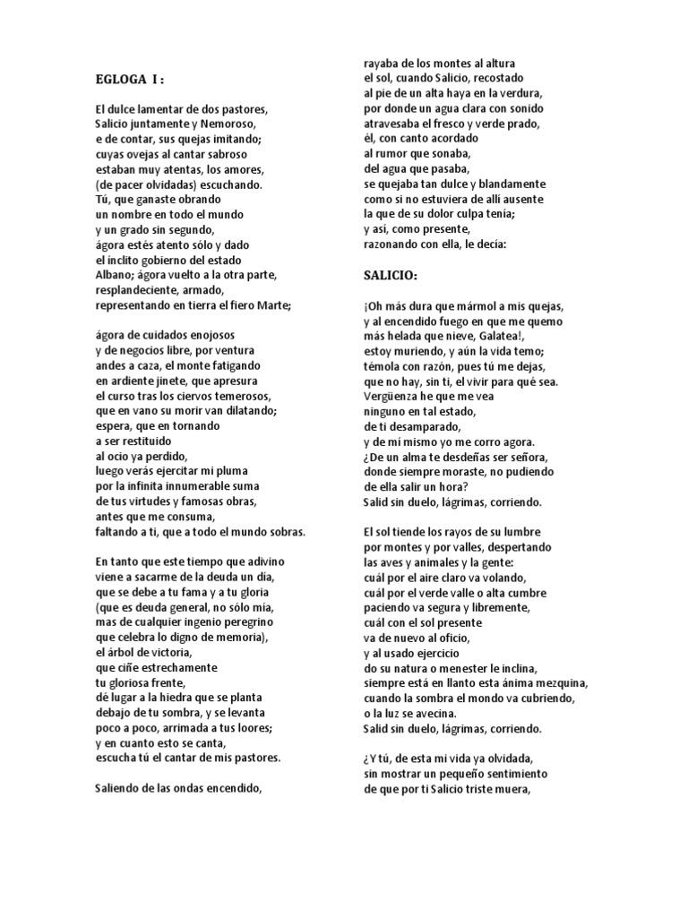 Poema Salicio Y Nemoroso Naturaleza