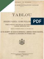 Tablou de regruparea comunelor rurale, 1931