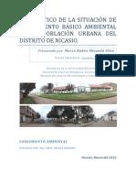 DIAGNOSTICO DE LA SITUACIÓN DE SANEAMIENTO BÁSICO AMBIENTAL DE LA POBLACIÓN URBANA DEL DISTRITO DE NICASIO