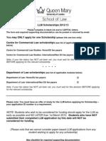 LLM Scholarships 2012
