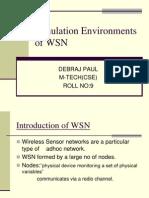 Simulation Environments of WSN