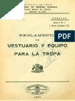 Ejército de Chile. Reglamento de vestuario y equipo para la tropa. (1940)