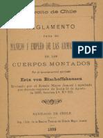 Ejército de Chile. Reglamento para el Manejo y empleo de las armas blancas en los Cuerpos Montados. (1899)