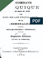 El Combate de Iquique (21 de Mayo de 1879) por uno de los tripulantes de La Esmeralda (Juan Agustín Cabrera Gacitúa). Detalles........... (1880)