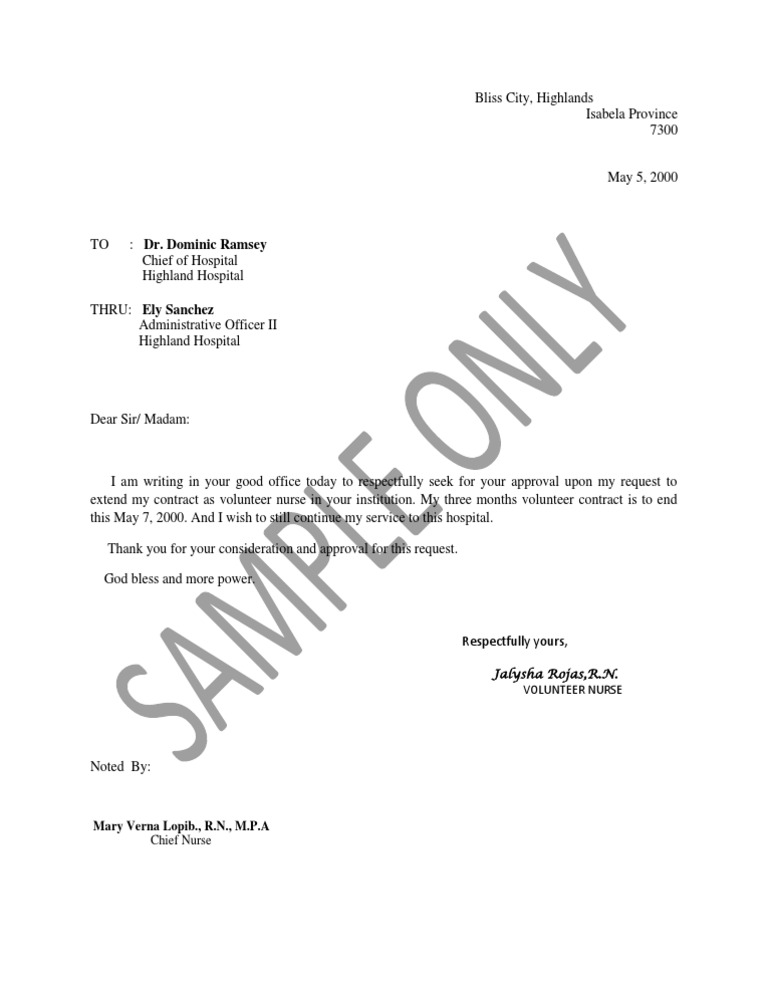 Sample letter to extend nurse contract spiritdancerdesigns Choice Image