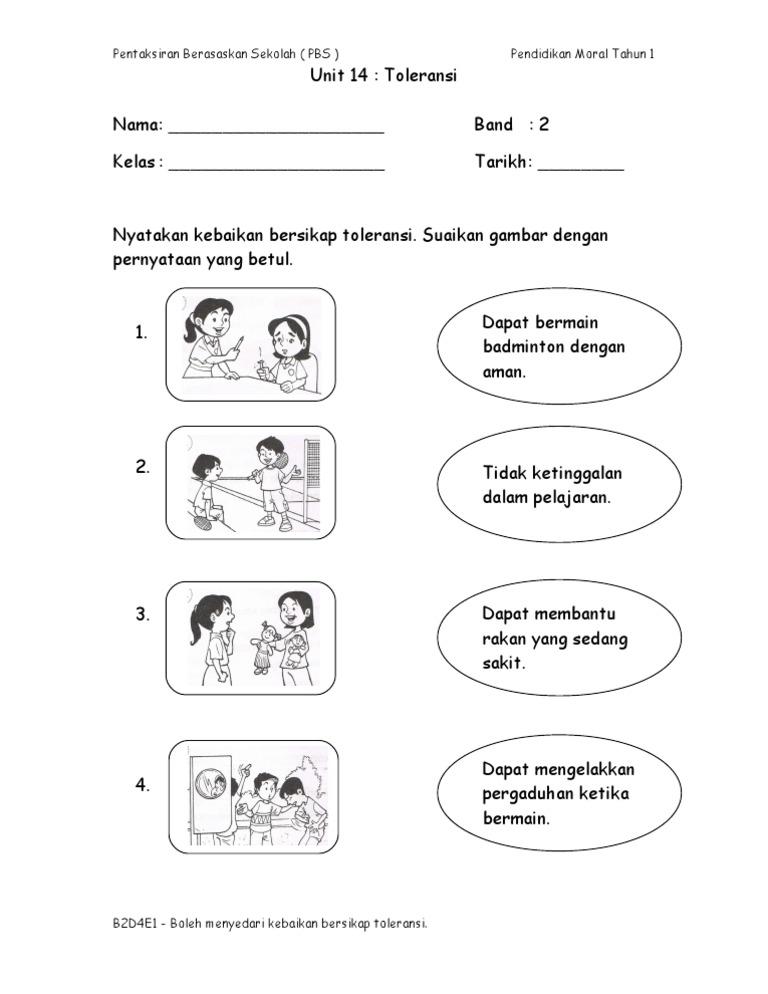Insrument Pbs Kssr Pendidikan Moral Tahun 1 Toleransi Band 2