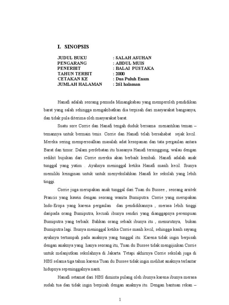 Analisis Novel Salah Asuhan