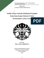 Diky Avianto - APBD2011 - Analisis Alasan Australia Melakukan Perjanjian Kerja Sama Dengan Malaysia Terkait Permasalahan Asylum Seekers