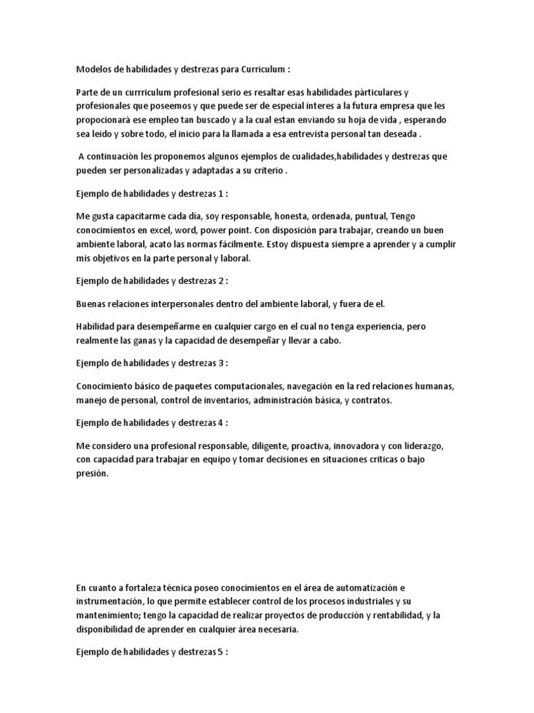 Contemporáneo Curriculum Vitae Lista De Habilidades Pdf Ilustración ...
