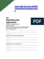La Planificacion Operativa