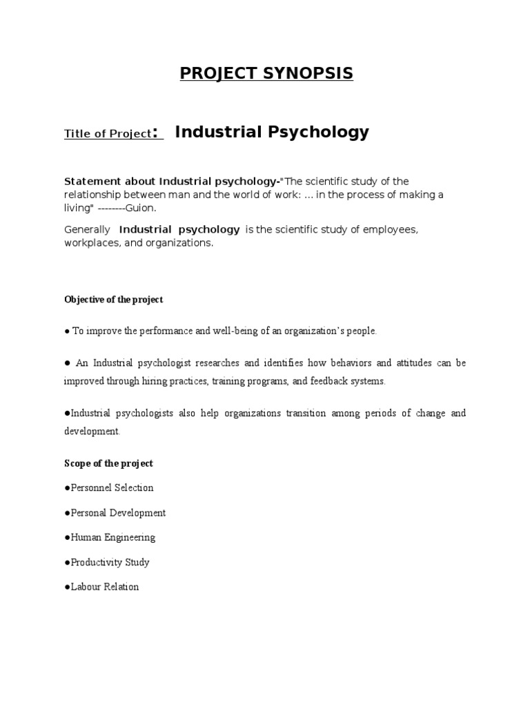 clinical psychology project synopsis