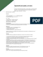 relación del hipoclorito de sodio y el cloro activo
