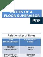 Duties Floor Supervisor