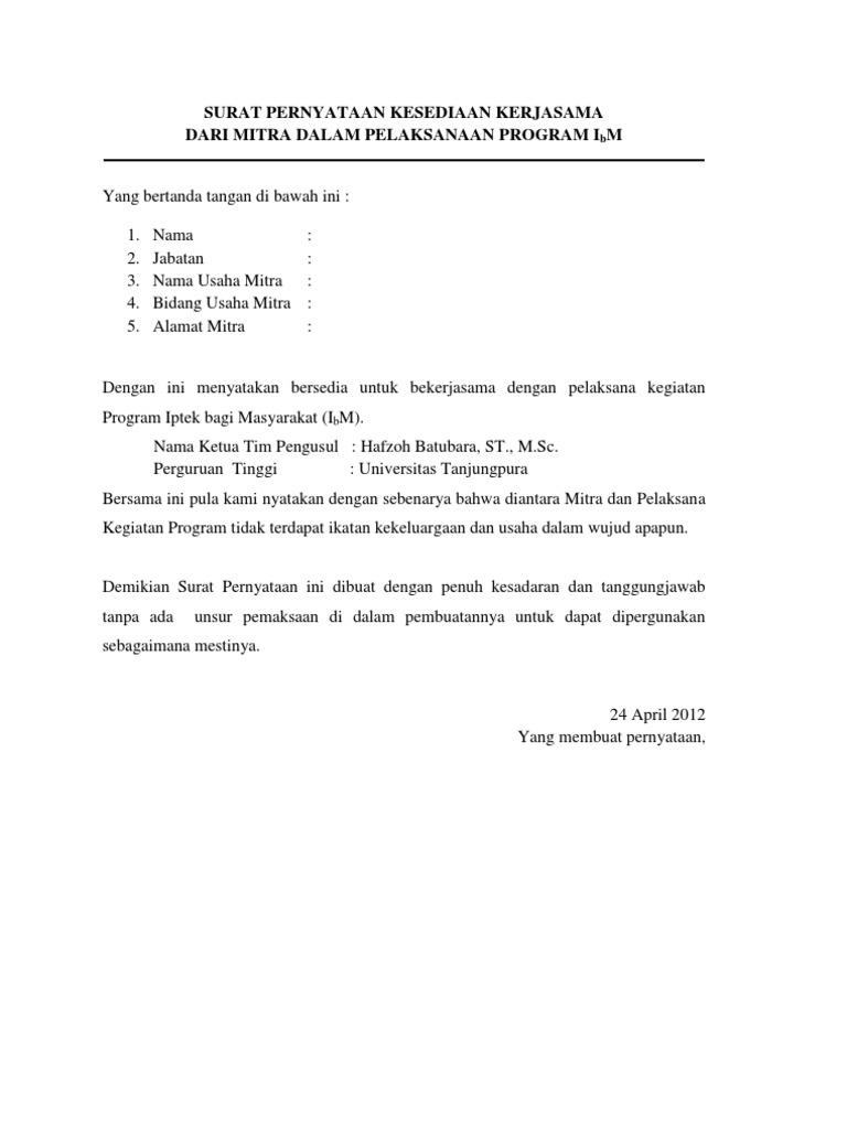 Surat Pernyataan Kesediaan Kerjasama