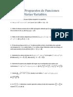 Ejercicios Propuestos de Funciones Reales de Varias Variables