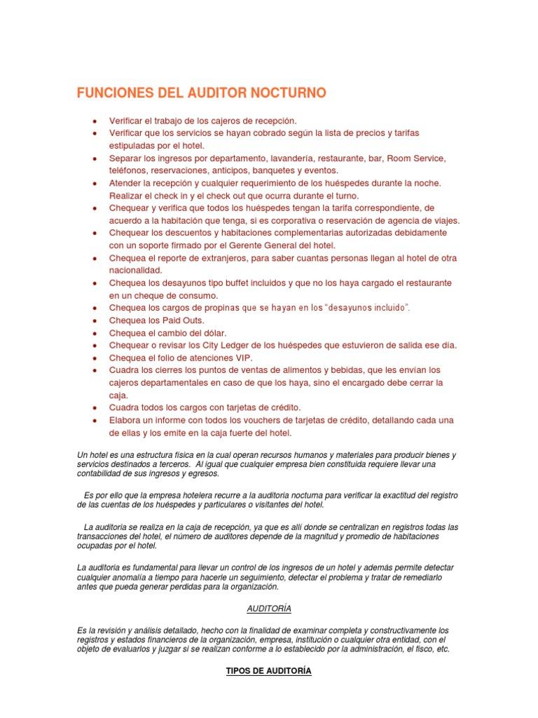 Excelente Currículum Del Auditor Nocturno Festooning - Ejemplo De ...