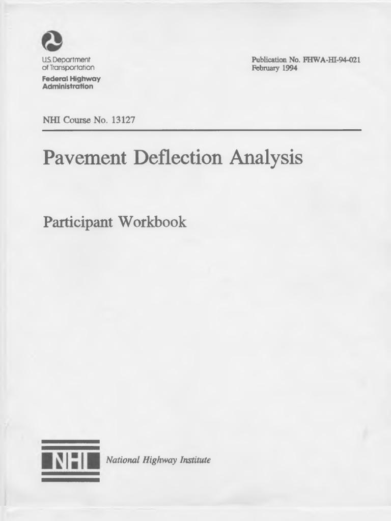 Pavement Deflection Analysis US Department of Transportation | Elasticity  (Physics) | Deformation (Engineering)