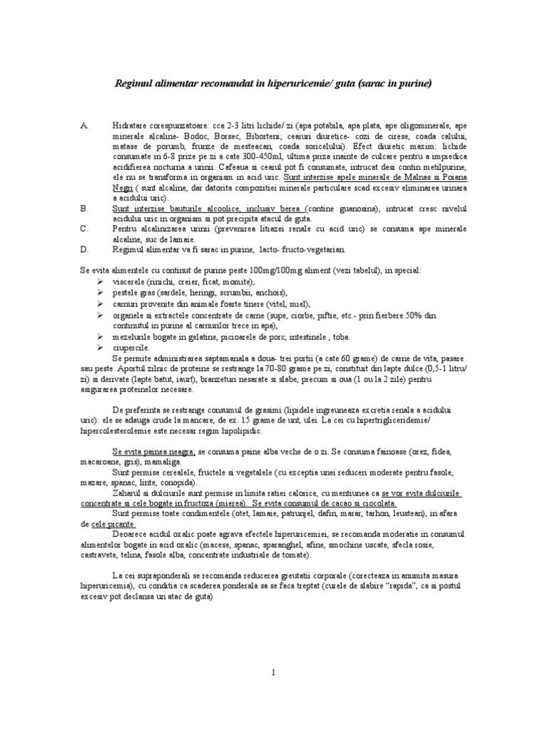 tabel cu alimente permise in guta)