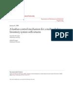 A Kanban Control Mechanism for a Multi-echelon Inventory System w