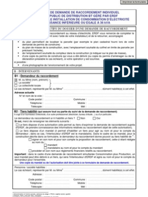 RACCORDEMENT ERDF FORMULAIRE TÉLÉCHARGER