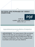 Duties of Inspector