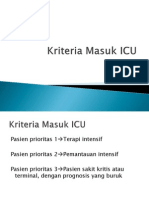 Kriteria Masuk ICU